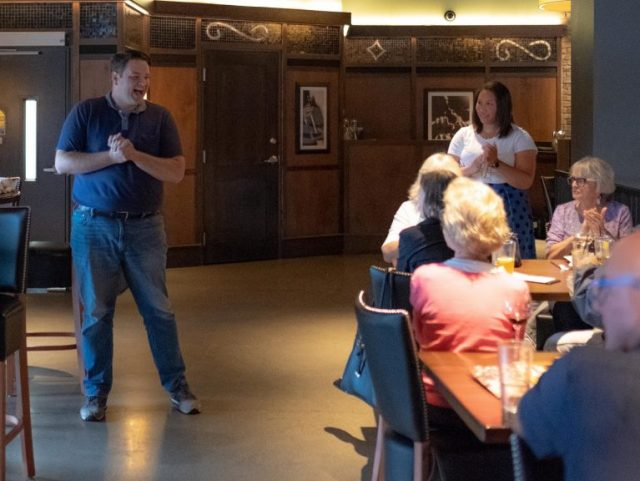 Indiana State Senate Senator JD Ford speaks at a fundraiser hosted by the Hamilton County Young Democrats at Bar Louie in Carmel ahead of the Young Democrats of America National Convention in Indianapolis 2019