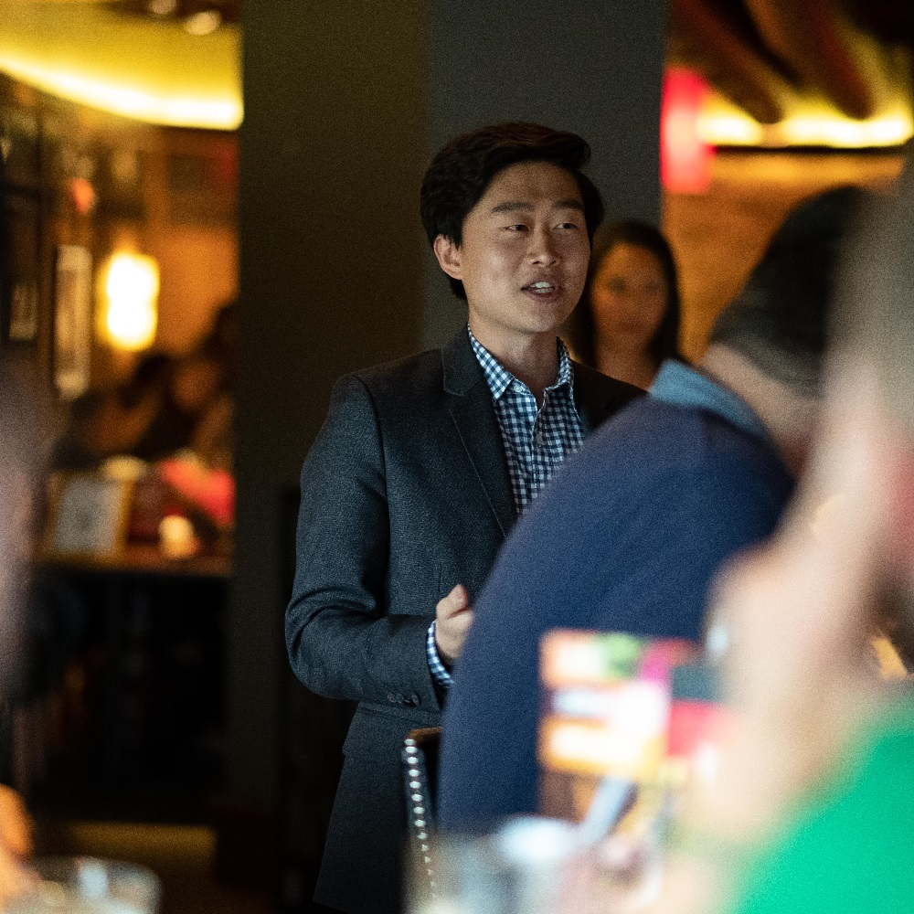 Indiana State House Representative Chris Chyung speaking at a fundraiser at Bar Louie in Carmel hosted by the Hamilton County Young Democrats