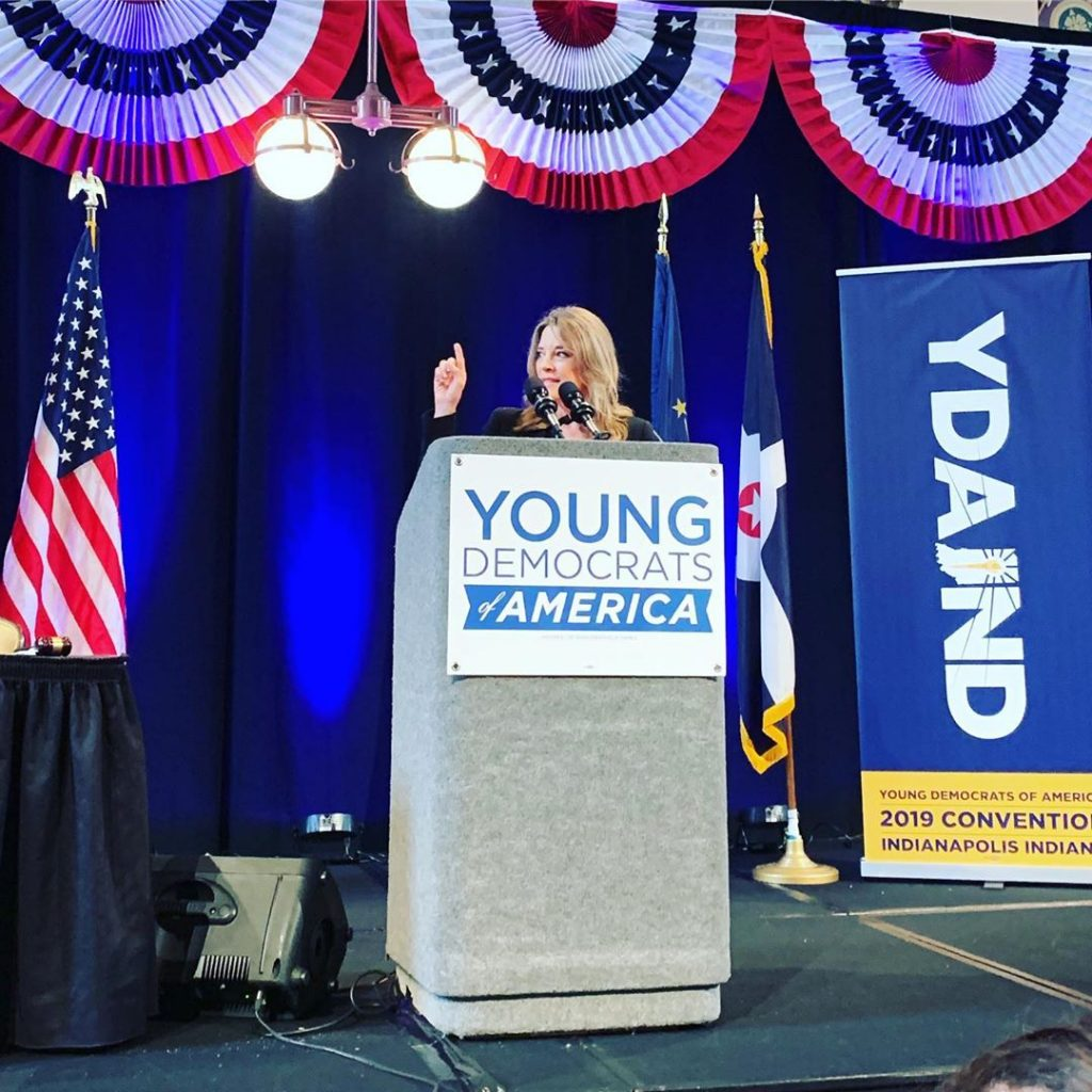Presidential Candidate Author Marieanne Williamson speaking at the podium of the Young Democrats of America National Convention in Indianapolis 2019