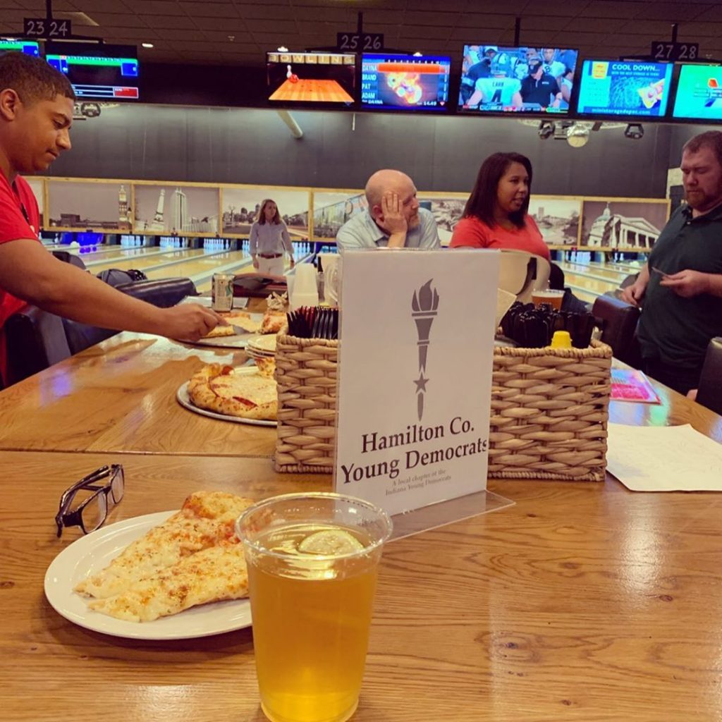 Hamilton County Young Democrats at a social night with bowling and pizza at Pinheads in Fishers