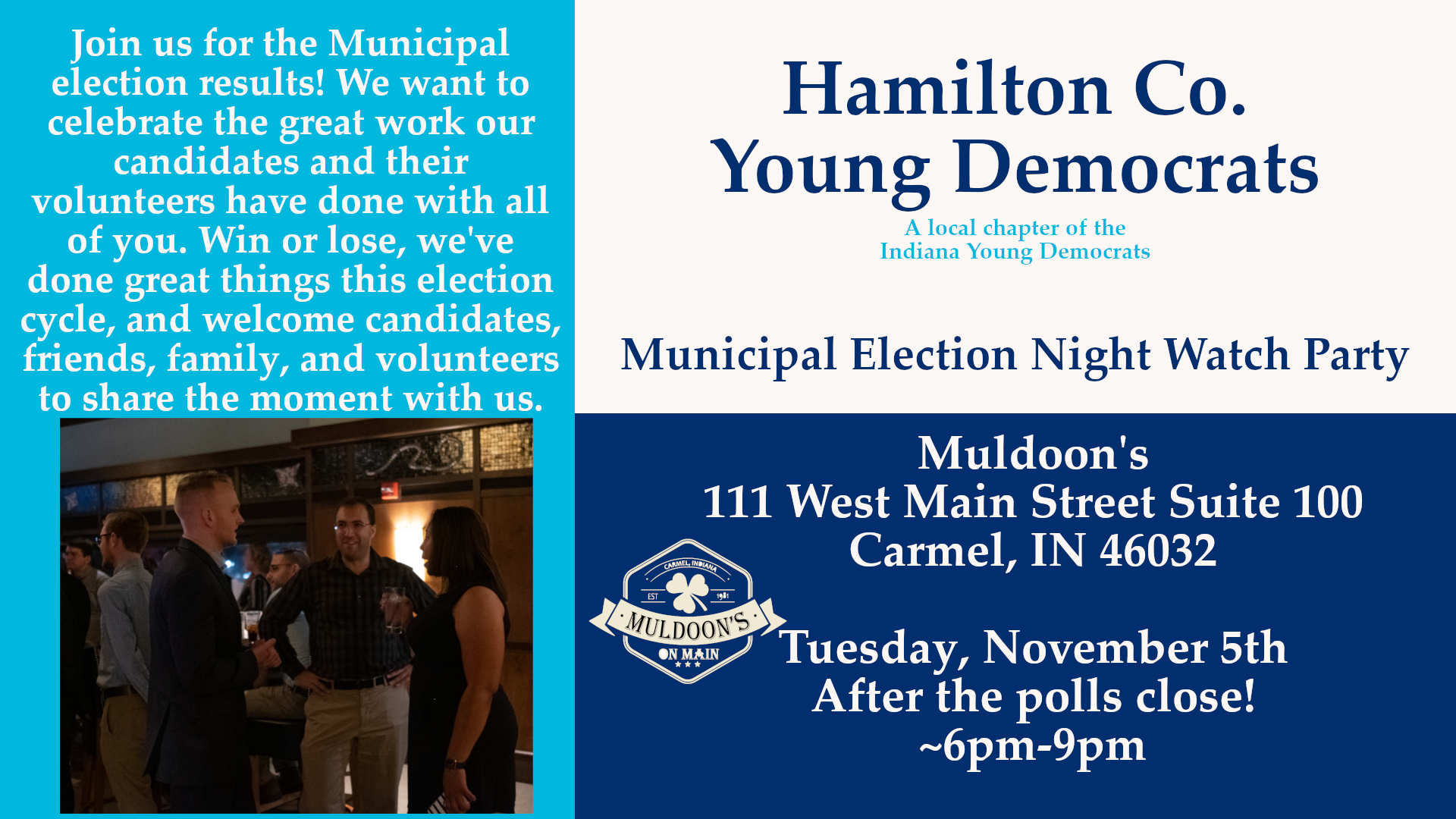 Municipal Election Watch Night Party Muldoons Carmel Hamilton County Young Democrats 2019