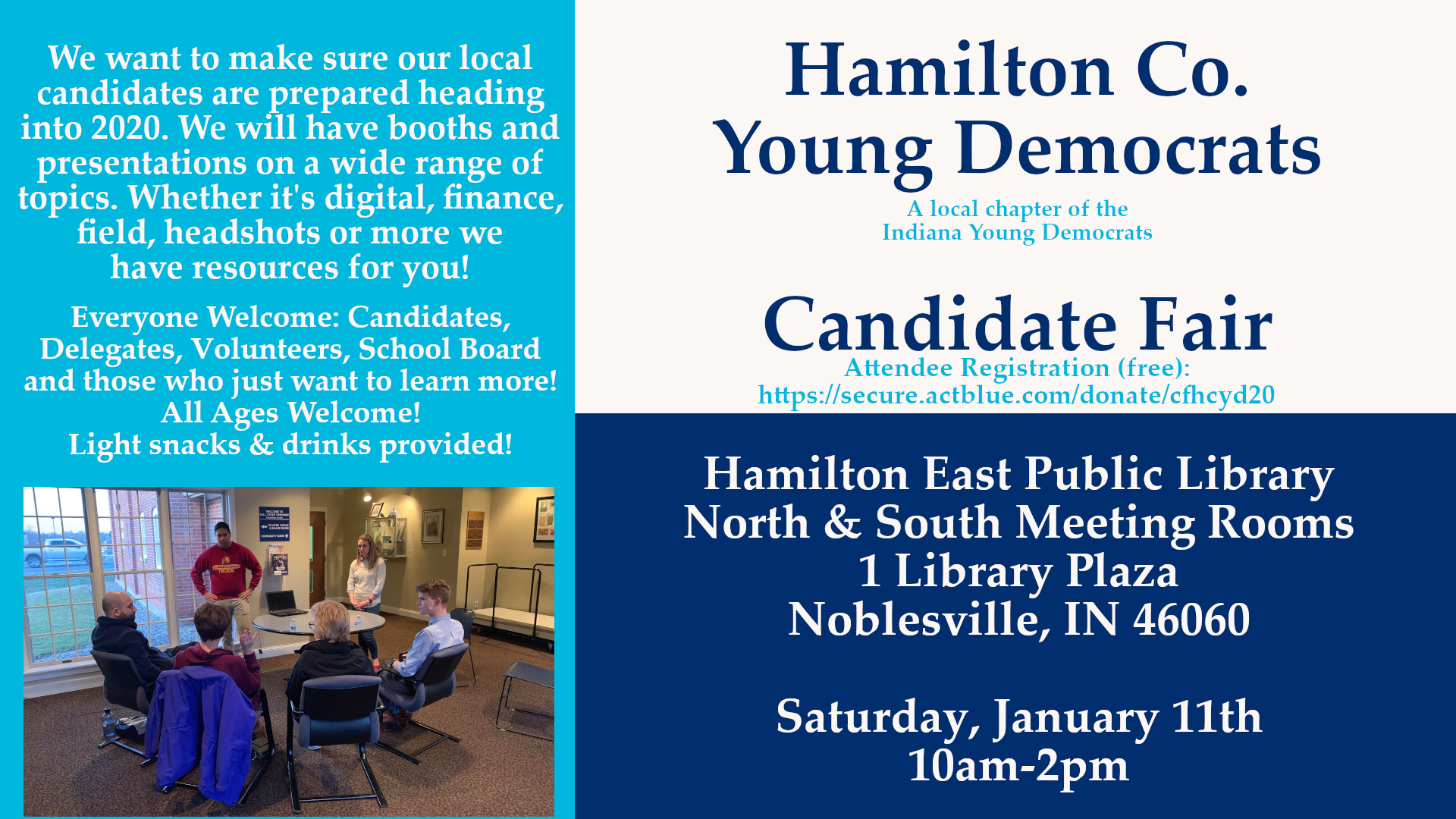 Candidate Fair Training Volunteer School Board Delegate Noblesville Library Hamilton County Young Democrats 2020