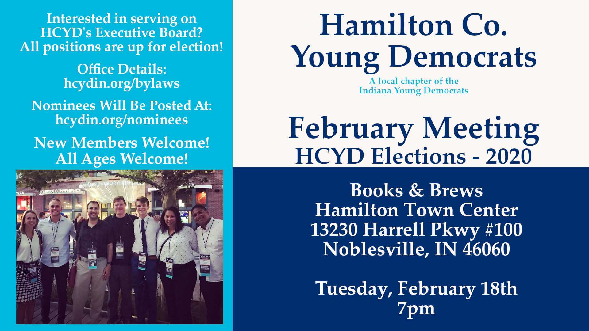 February Meeting Officer Election Noblesville Books Brews Hamilton Town Center Hamilton County Young Democrat 2020