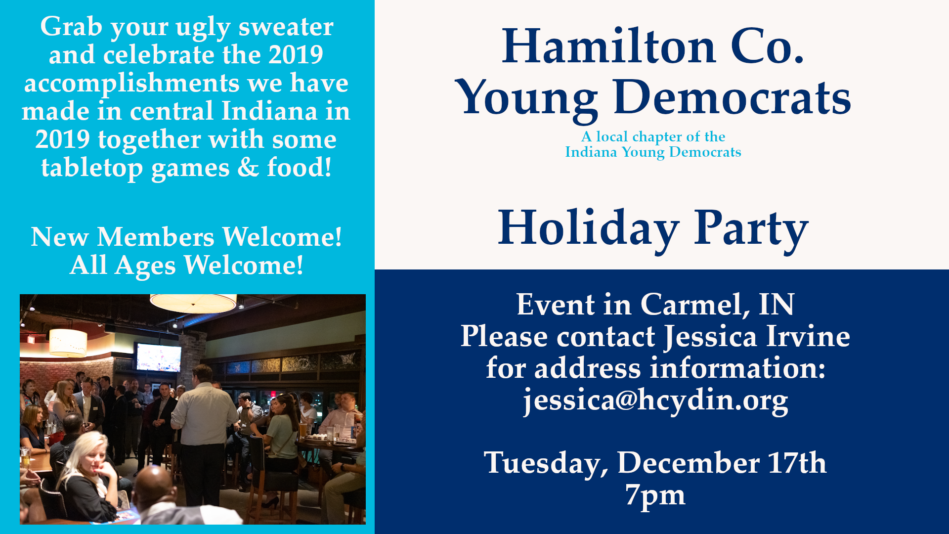Holiday Party December Meeting Carmel Hamilton County Young Democrats 2019