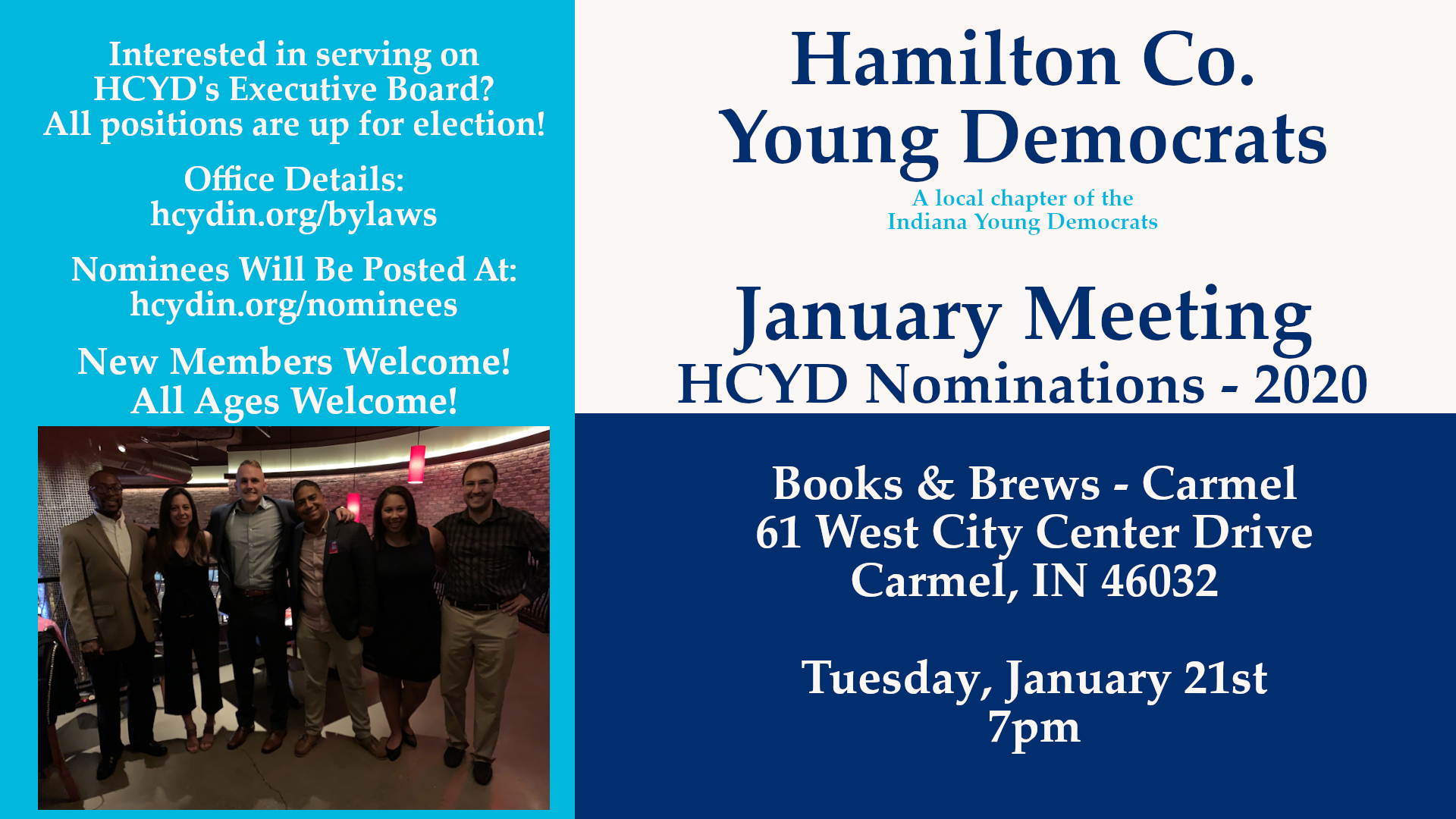 January Meeting Officer Nomination Carmel Books Brews Hamilton County Young Democrats 2020