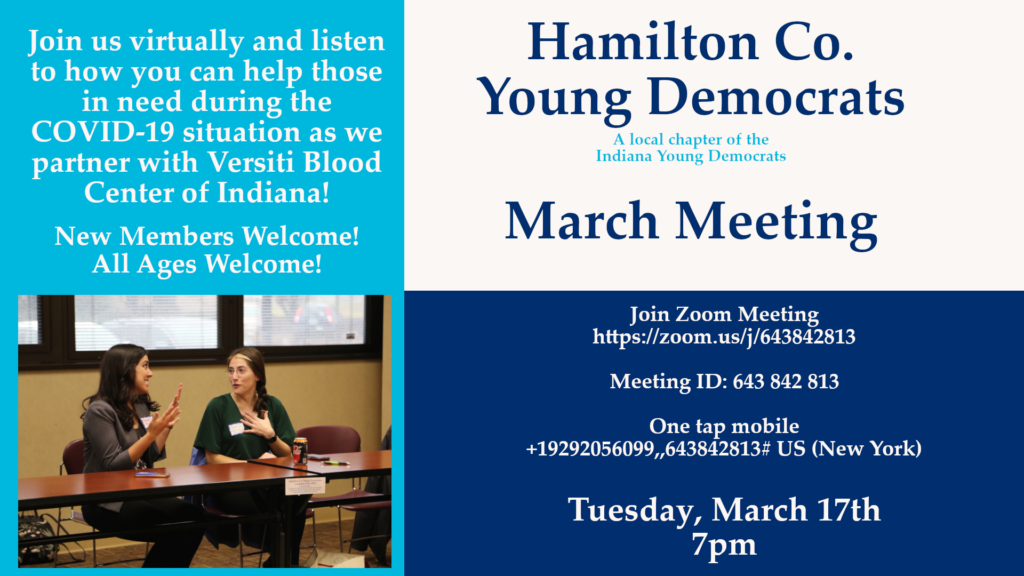 March Meeting Virtual Hamilton County Young Democrats 2020 Zoom Versiti Blood Center